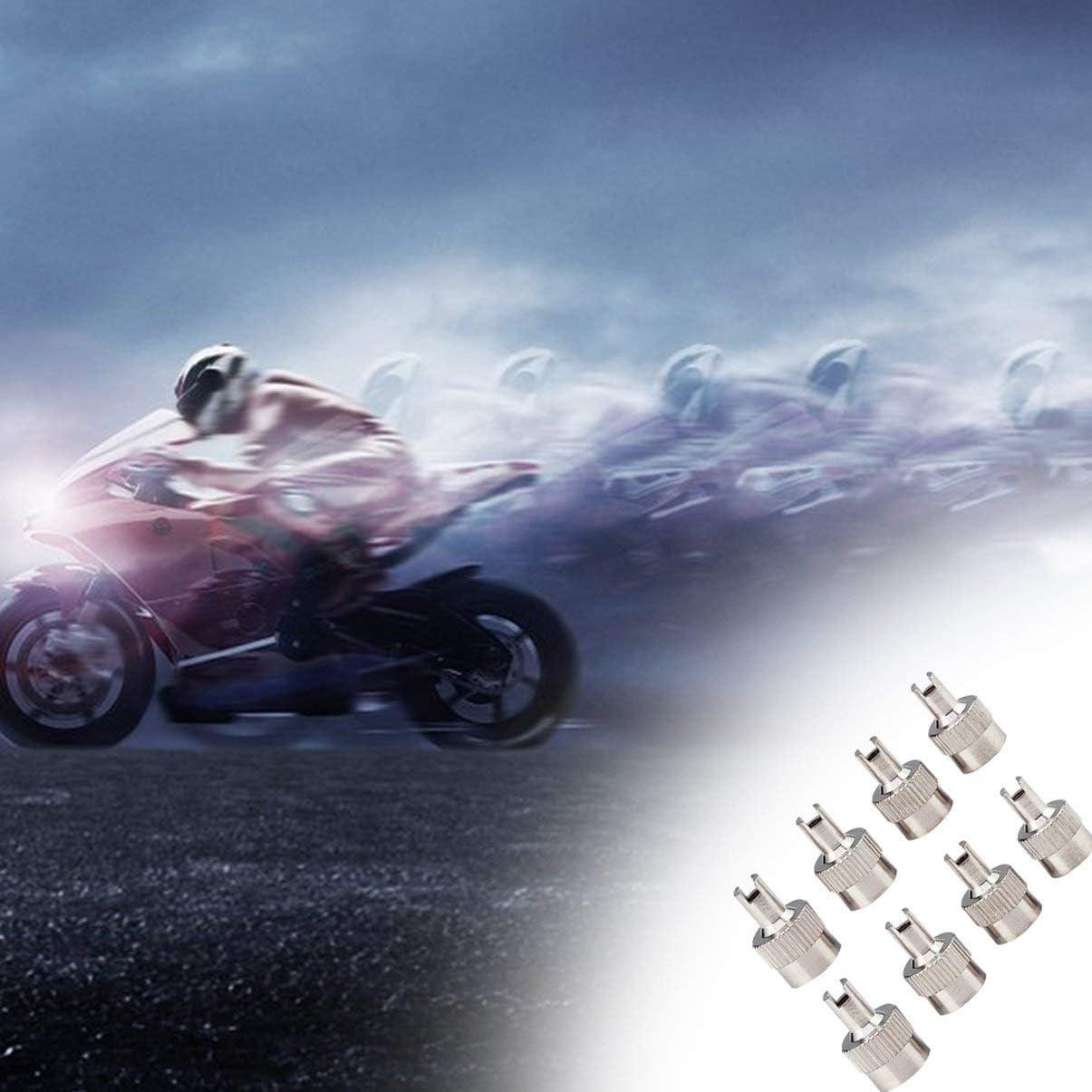 8pcs Set Tapas de v/ástago de v/álvula de cabeza ranurada de metal cromado con herramienta de extracci/ón de n/úcleo para motocicleta//herramienta de reparaci/ón de autom/óviles
