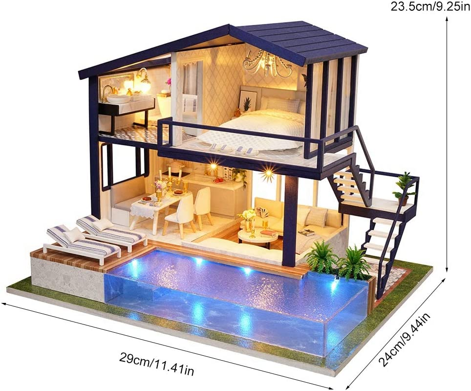 Duokon Kids Mini Wooden House Studio Doll Kit With LED Light Furniture DIY Handcraft Toy Dollhouse Miniature Box Model Building Kits