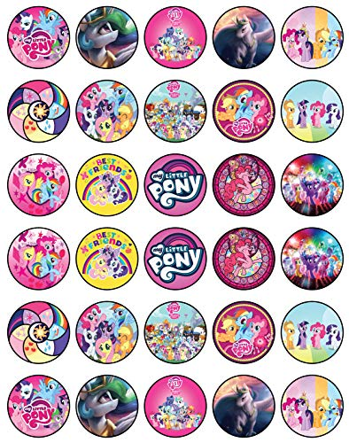 30 x Edible Cupcake Toppers - My Little Pony Themed Collection of Edible Cake Decorations | Uncut Edible Prints on Wafer Sheet -