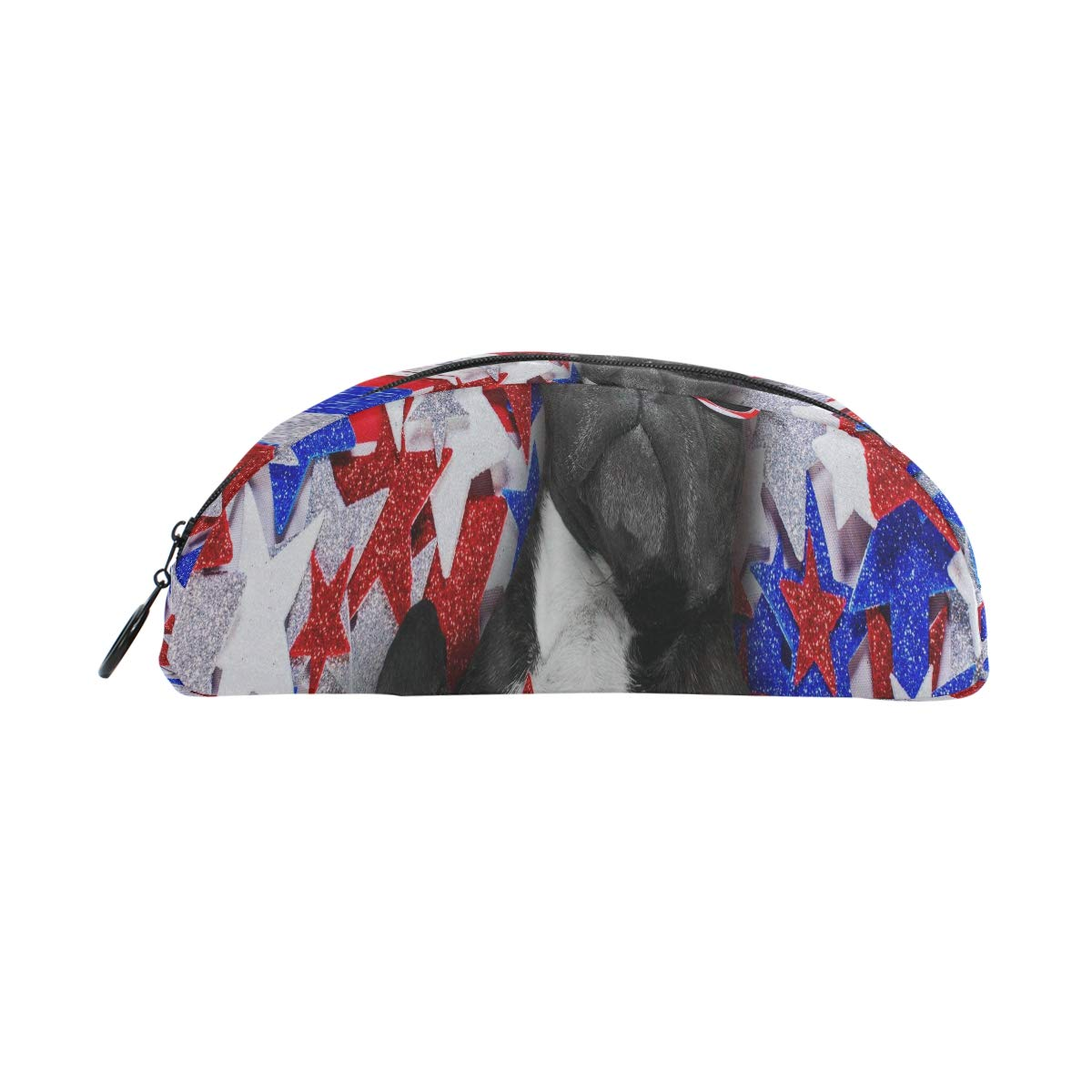 Pequeño estuche para lápices Bulldog francés que agita una bandera de Estados Unidos y la victoria o organizador de bolsas de lápices Estuche de lápices Bolsa con cremallera para estudiantes Clase Ni: