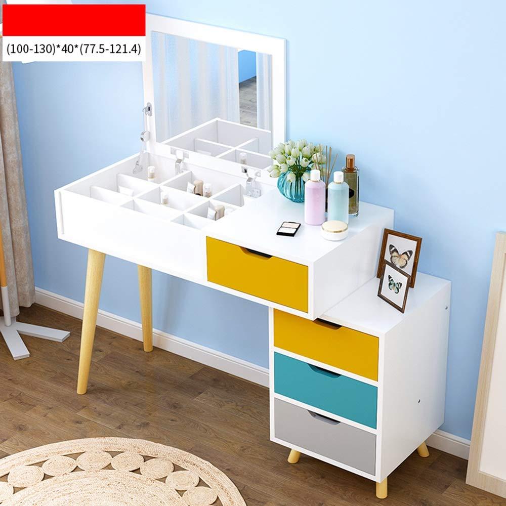 Zfggd Tisch kleine Wohnung Schlafzimmer Schminktisch versenkbare Mini Schminktisch Multifunktionsspeicher Tisch Schlafzimmer wirtschaftlichen Schminktisch Lagertisch (Farbe : 4#)