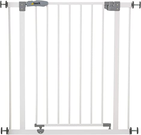 Hauck Safety Gate For Doors And Stairs Open N Stop Pressure Fit 75 80 Cm Large Extendable With Separate Extensions Metal White Amazon Co Uk Baby