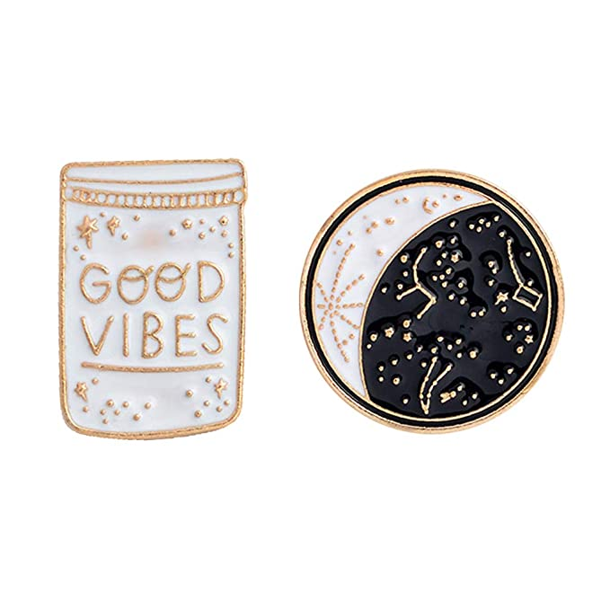 HittecH 2Pcs Good Vibes Only Motivational Cute Enamel Lapel Pins Jacket Shirts Bag Decor