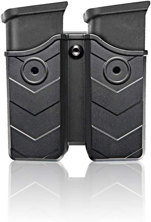 efluky Portacargador Funda para Pistola Cargador Bolsa Universal Portacargador Doble para H&K USP FS/Compact 9mm/.40/Beretta/Golck 17 19/CZ 75/Walther P99/Sig Sauer p226