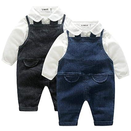 Abbigliamento Neonato Inverno Autunno Tute Bimbo 6-9 12-18 Mesi Neonato  Signore Bambino Solido Maglietta Top Jeans Bretelle Pantaloni Set Abiti   Amazon.it  ... d0fa1bf605c