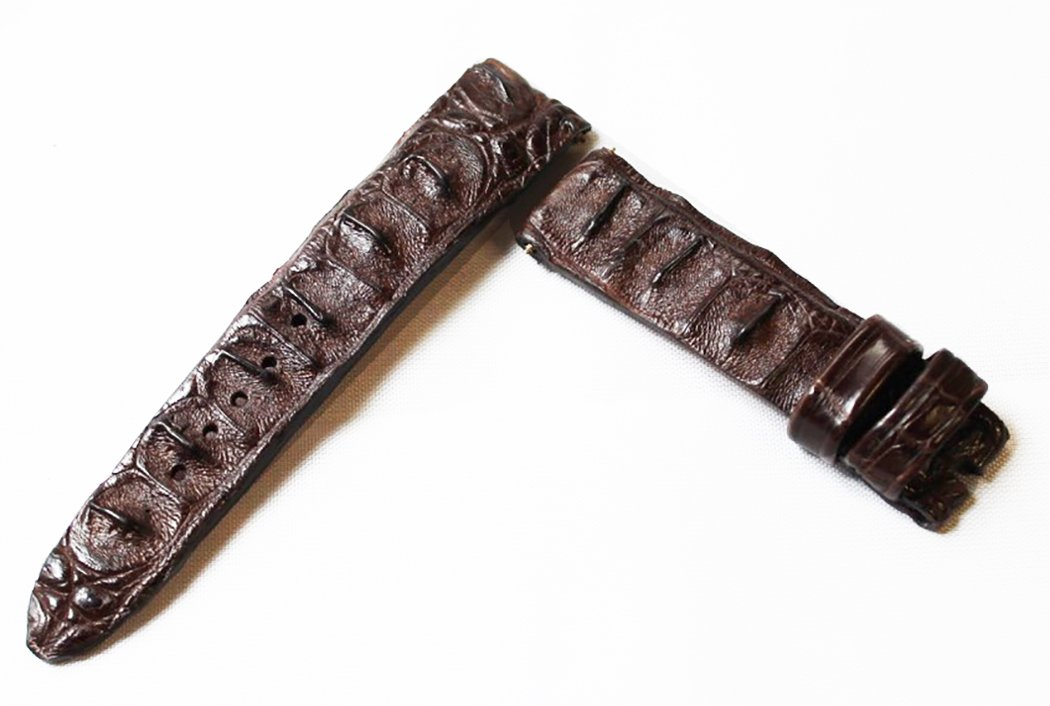 Brown Horned Back American Alligator Watch Strap, Crocodile Watch Band replacement by Woodward (20mm)