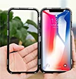 Realtech Ultra Slim Magnetic Metal Frame Cover & Transparent Back Tempered Glass for Apple iPhone 11 Pro Max (Black)