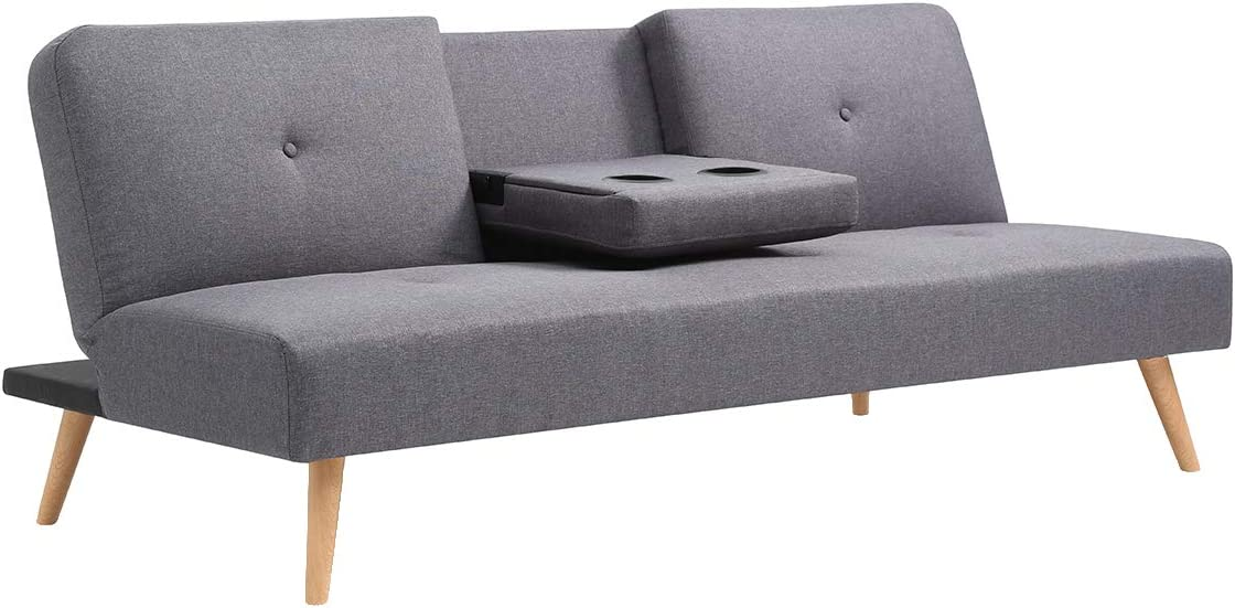 AC Pacific Hobbs Grey Futon Sofabed