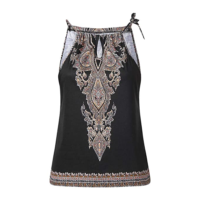 74cc25225f Amazon.com  Uscharm Womens Floral Print Sleeveless Blouse Summer Strap Vest  Tops Sleeveless Shirt Racerback Casual Tanks  Clothing