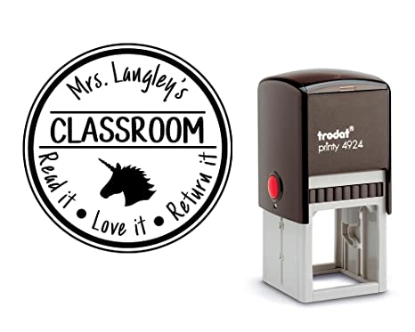 Amazon Personalized Library Stamp Self Inking From The Desk Of With A Unicorn Profile Image Many Designs And Colors Office Products