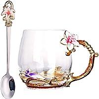 LONGWIN Glass Tea Cup Enamel Flower Coffee Mugs with Spoon Personalized Birthday Wedding Pink,Short