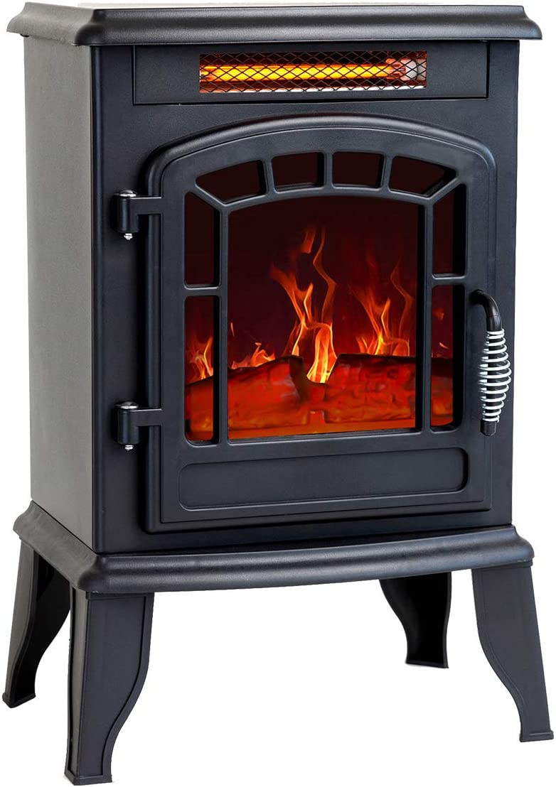 Flame Shade 23 Inch Electric Fireplace Wood Stove Portable Freestanding Indoor Space Heater 1400w Kitchen Dining