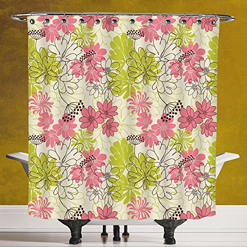 Polyester Shower Curtain 3.0 [Floral,Hand Drawn Pastel Petals in Vivid Contrast Nature Tone Blooming Image,Eggshell Pink Apple Green] Digital Print Polyester Fabric Bathroom (Target Halloween Hand Towels)
