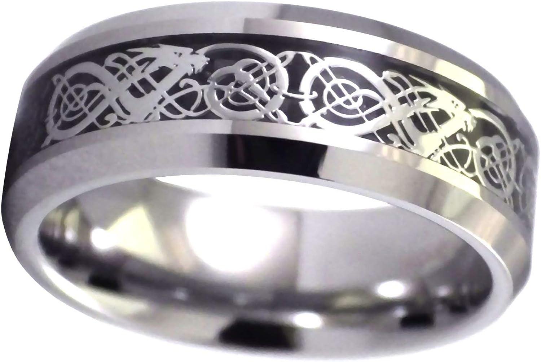 Fantasy Forge Jewelry Tungsten Celtic Dragon Ring Viking Black Wedding Band Handfasting Sizes 6-15 8mm