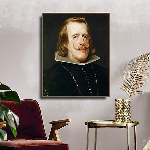 QianLei Felipe IV, Rey de España Diego Lienzo Pintura caligrafía Lienzo póster impresión decoración Imagen para Sala de Estar Dormitorio decoración del hogar-56x70 cm sin Marco: Amazon.es: Hogar