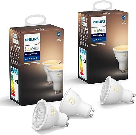 Philips Hue White Ambiance 3 bombillas LED inteligentes GU10, luz blanca de cálida a fría, comp...