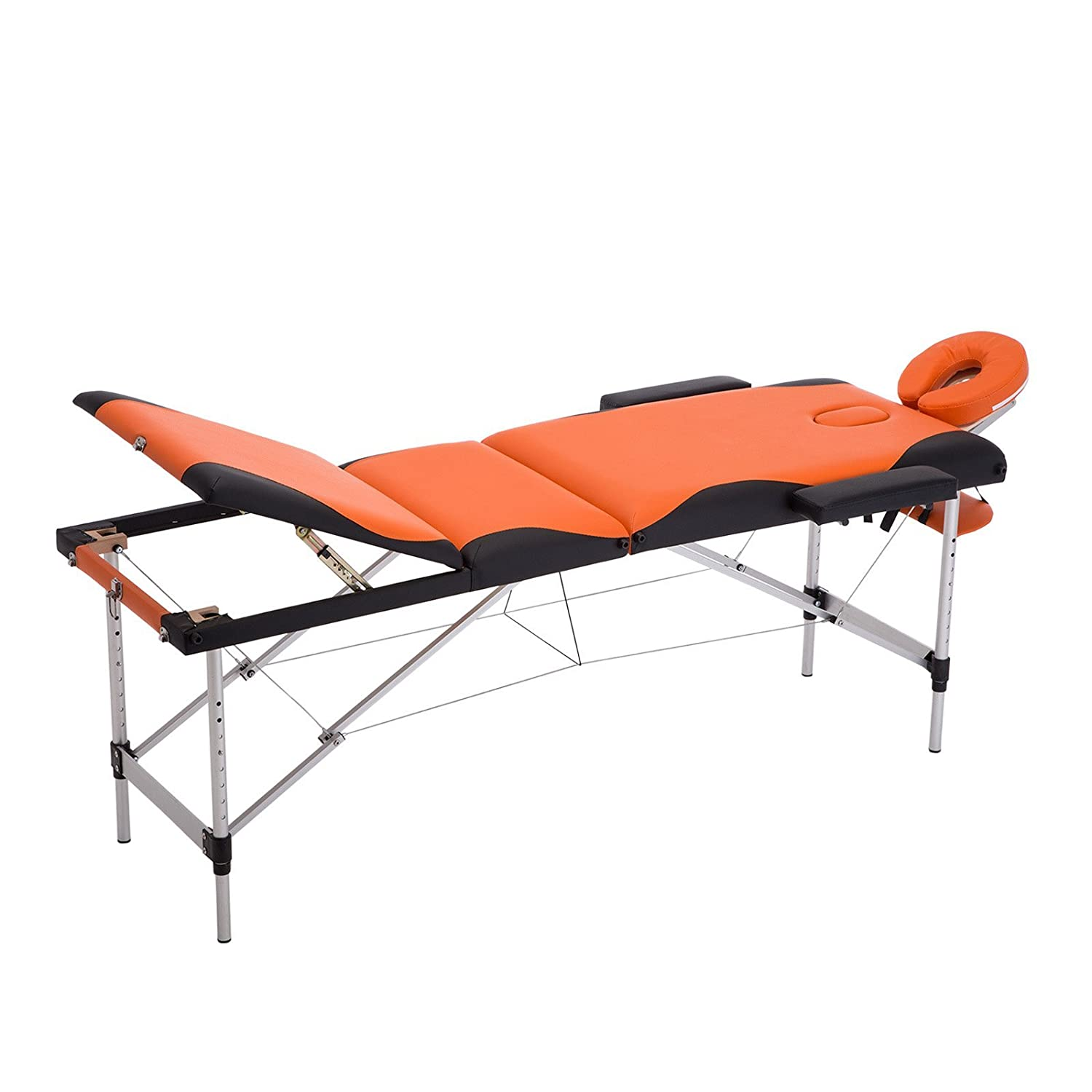 Uenjoy Folding Massage Table 84'' Professional Massage Bed Luxury-Model With Carrying Bag & Additional Accessories 3 Fold, Blue