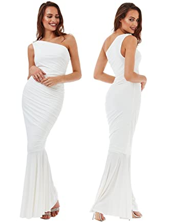 Goddess London Long Cream One Shoulder Grecian Maxi Evening Fishtail Formal Dress Prom (12/