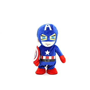 Evalue Captain America Kids Super Heroes Soft Plush Toys Singing and Walking Toy for Children (11 inches)