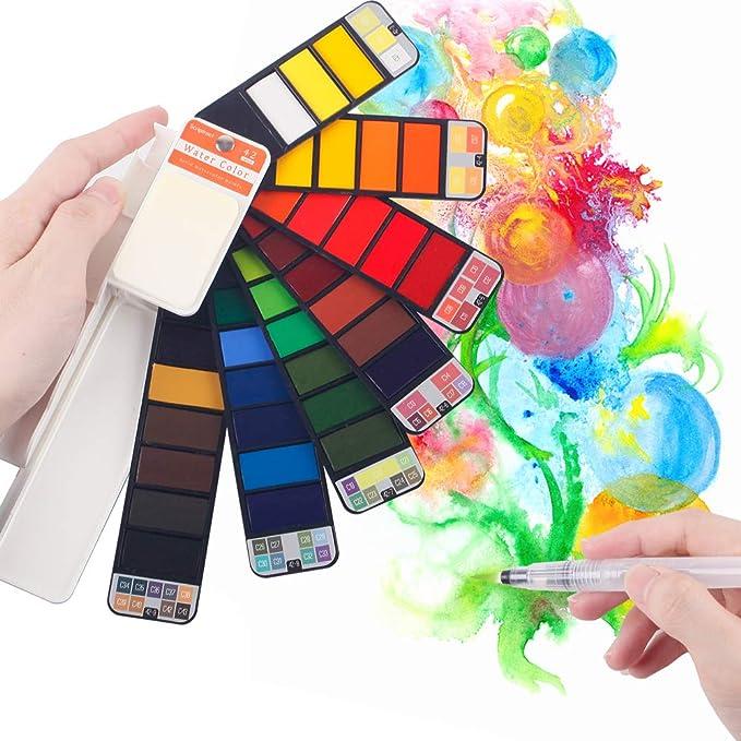 scriptract Caja de Acuarelas Sólidas Profesional 42 Pigmentos de Pintura Portátil para Viaje con Pincel: Amazon.es: Juguetes y juegos