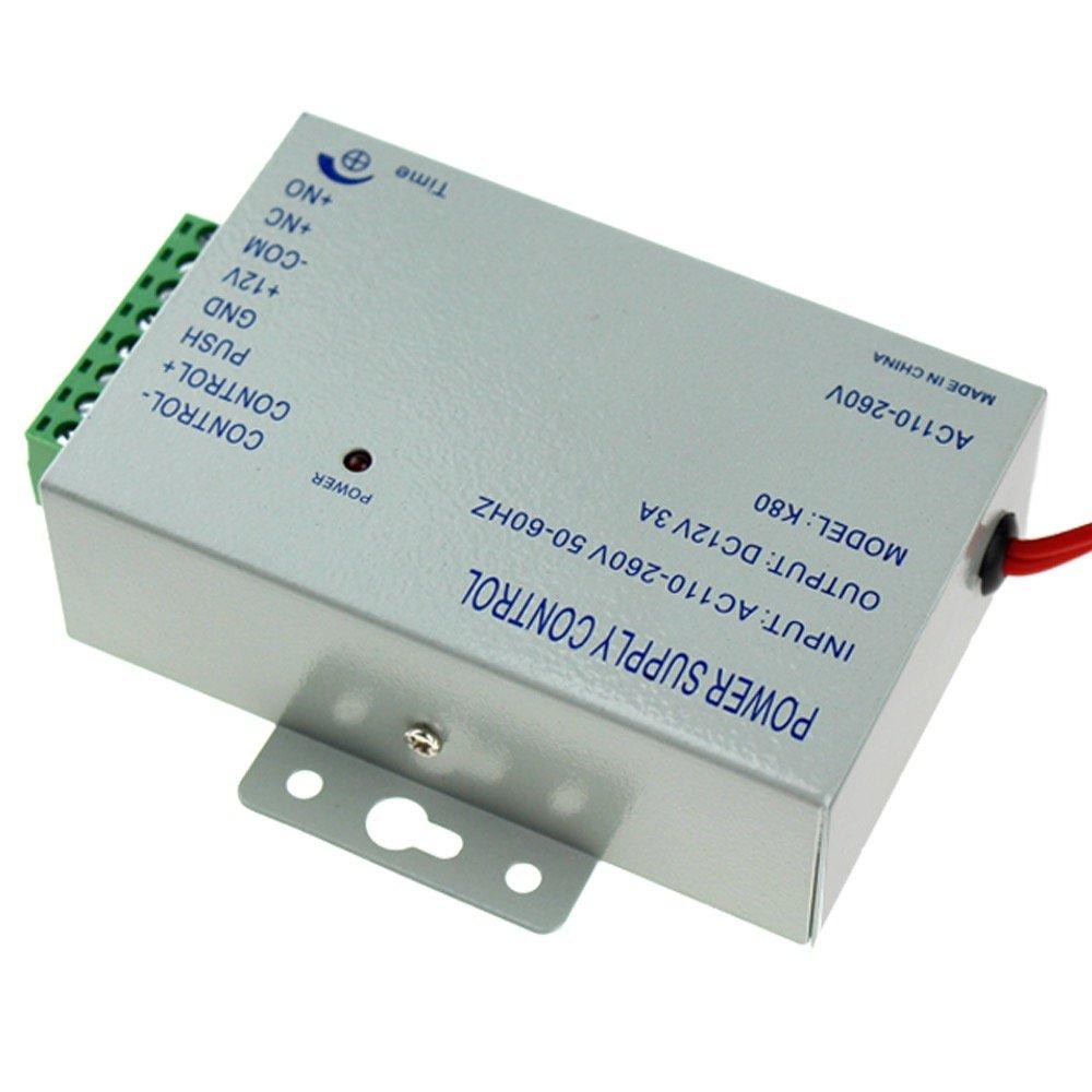LIBO Bloc dalimentation de contr/ôle dacc/ès K80 Interrupteur dalimentation DC 12V 3A AC 110~260V pour Tous Les Types Serrure de Porte de avec Le Retard de Temps