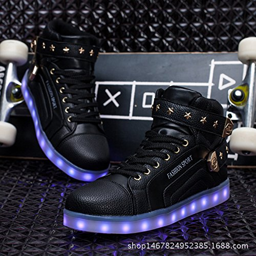 Shoes Shoes Metal Joansam Charging Light High LED USB Flashing Up Sneakers Velcro Top Black2 Women amp; Men zT5HqxwT