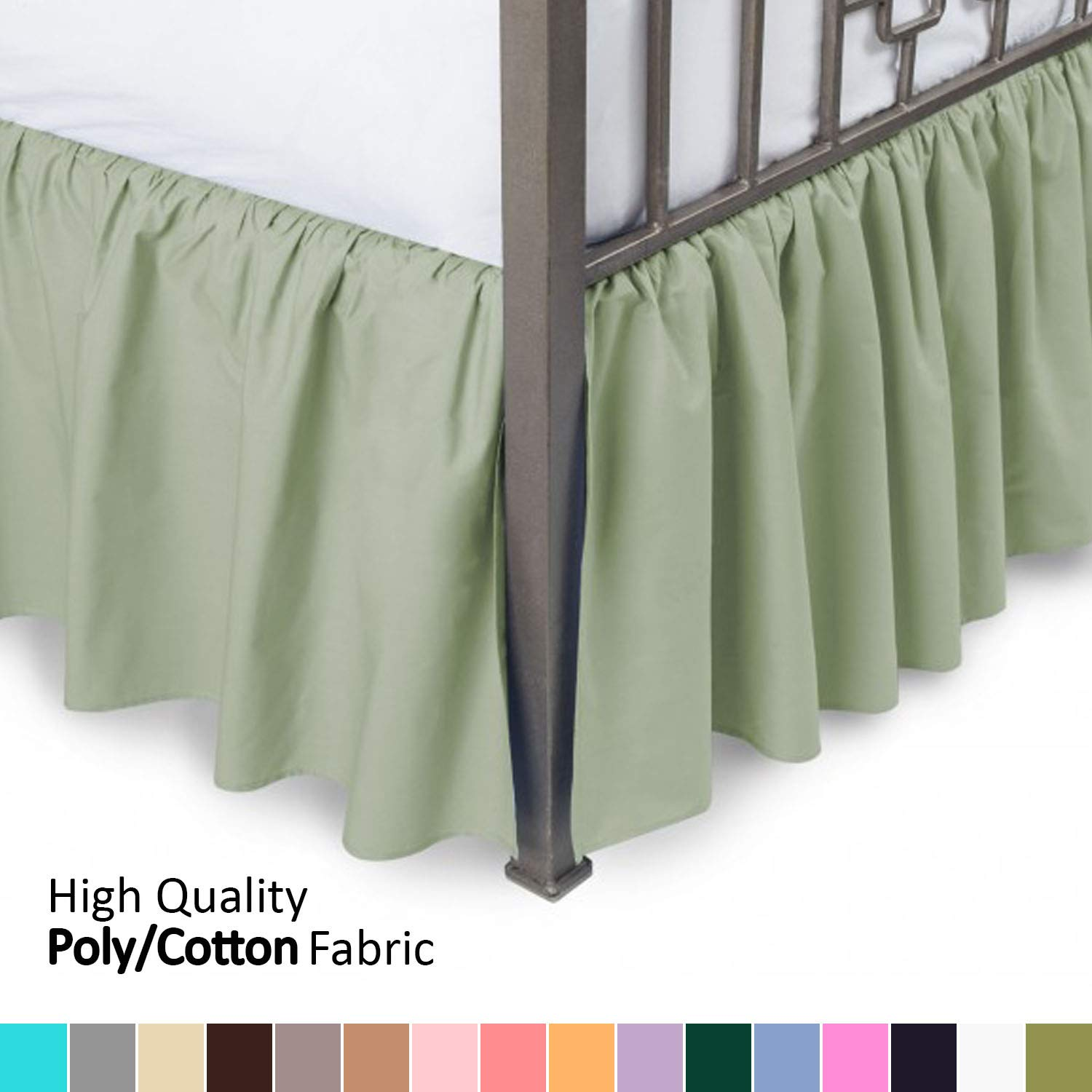 Ruffled Bed Skirt Wrinkle and Fade Resistant - 21 Inch Drop Bedskirt with Platform /… Available in All Bed Sizes and 16 Colors Twin XL, Camel