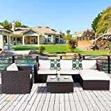 Cheap Cloud Mountain 6 Piece Wicker Furniture Set Outdoor Patio Garden Lawn Furniture Set PE Rattan Sectional Sofa Couch Set Cushions Summmer Pillows, Dark Chocolate