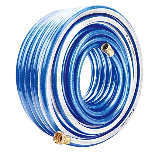 Homes Garden 100 ft. Garden Hose 5/8 inch Blue Water Hose Commercial Brass Coupling Fittings for Household, Industrial 8 Years Warranty (Best Home-x Garden Hoses)