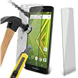 Moto X Play Premium Quality Tempered Glass Explosion & Shatter Proof Screen Protector - Microfibre Cloth & Dust Collection Tape by Gadget Giant®