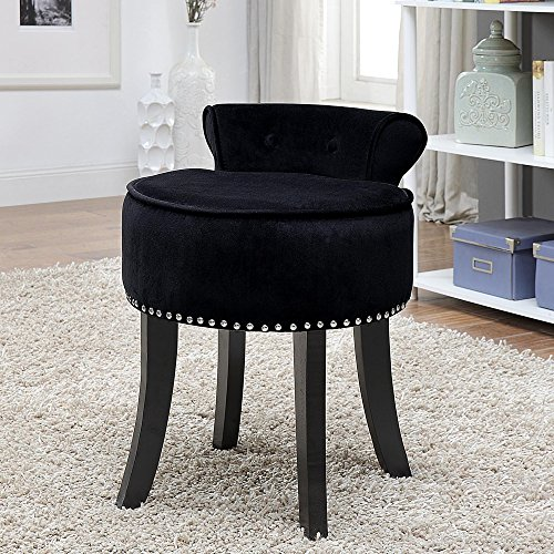 Inspired Home Taylor Velvet Contemporary Nail Head Trim Rolled Back Vanity Stool, - Vanity Black Contemporary