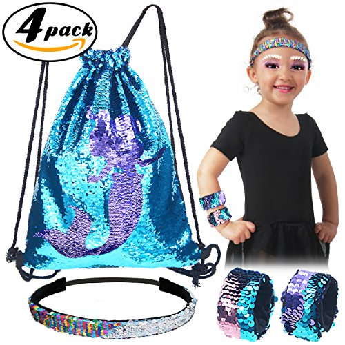 Pawliss 4 Pack Little Mermaid Magic Reversible Sequin Birthday Party Gifts for Girls Kids, Sequined Slap Bracelets Drawstring Bag Backpack Headband, Blue & Purple Little Mermaid Treat