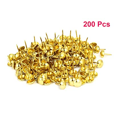 Gentil Sydien 200 Pcs Upholstery Nail Heads Thumb Tack Push Pins Decorative Nails  For Furniture Gold Tone