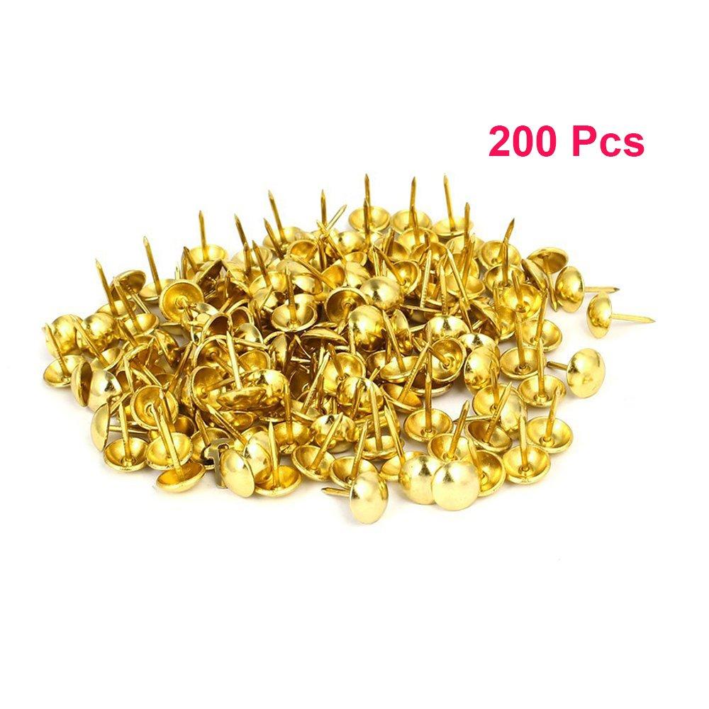 Sydien 200 Pcs Upholstery Nail Heads Thumb Tack Push Pins Decorative Nails For Furniture Gold Tone(16mmx11mm)
