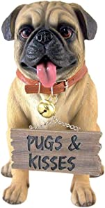"Large Pug Dog Love 11"" Pugs and Kisses Garden Greeter Statue"