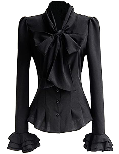 7164c5adb79 PrettyGuide Women 50 s Retro Silky Bow Tie Shirts Ruffle Victoria Blouse  Tops at Amazon Women s Clothing store