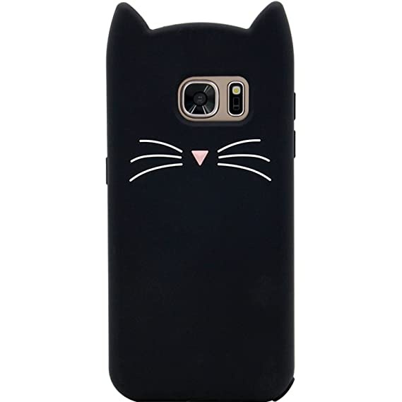 best website 7c9ad 2506c Galaxy S7 Case, MC Fashion Cute 3D Black Meow Party Cat Ears Kitty  Whiskers, Shockproof and Protective Soft Silicone Case for Samsung Galaxy  S7 ...