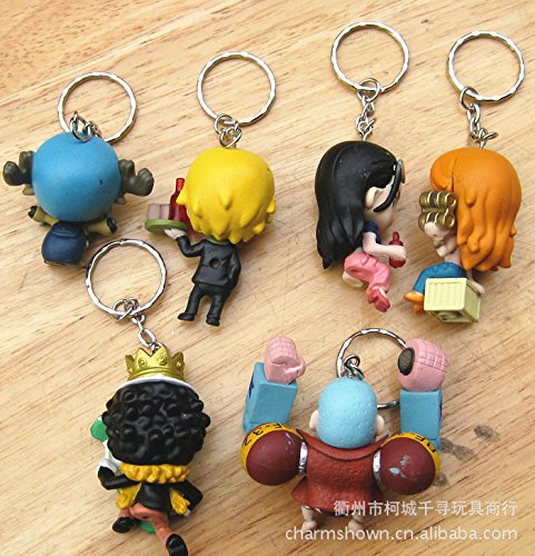 9pcs/set One Piece Zoro Frank Luffy Brook Chopper Robin Nami Sanji Anime Keychain Collectible Action Figure PVC Collection toys one-9