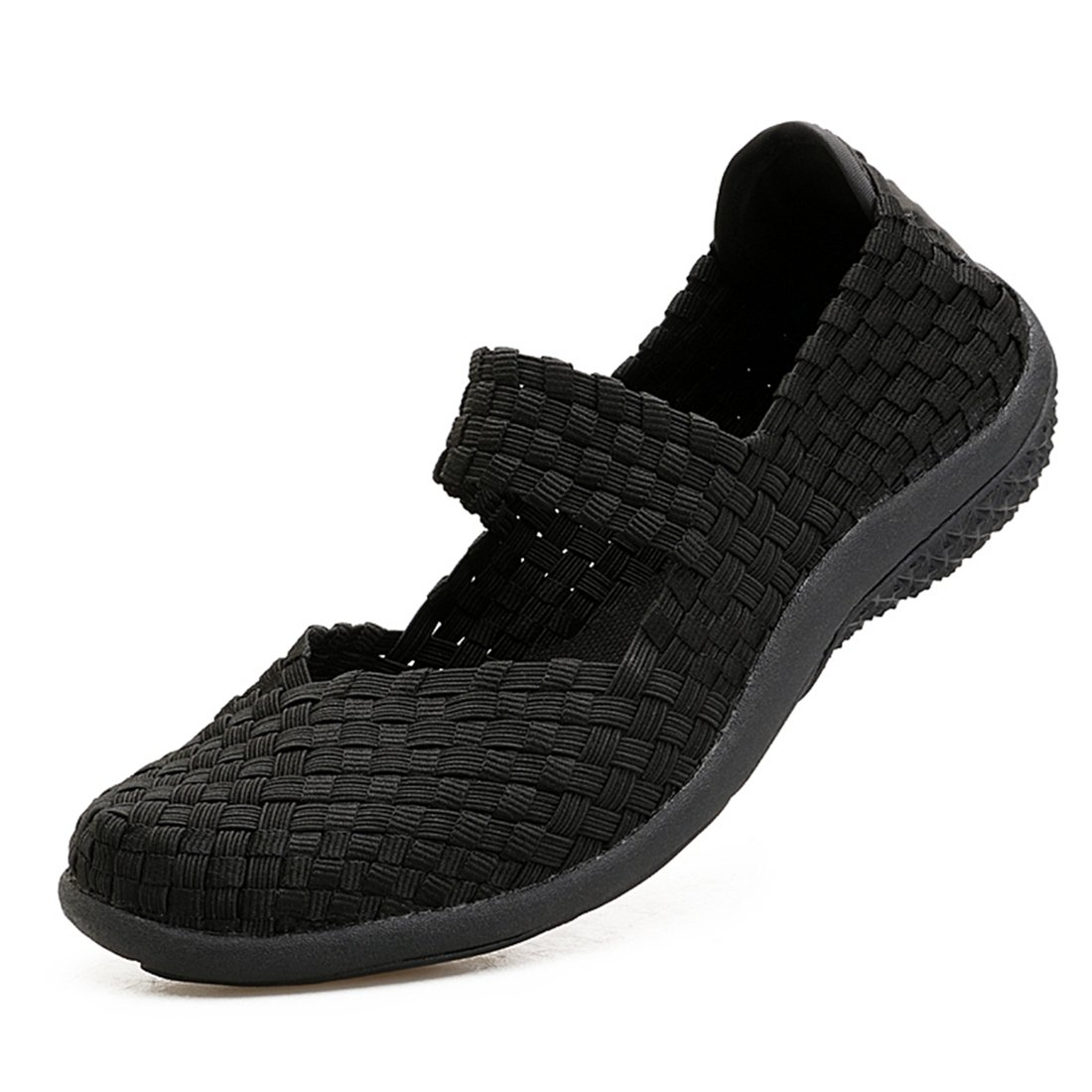 f9641a6217b63 SEVENWELL Women's Woven Stretch Mesh Loafers Fashion Sneakers Breathable  Slip-on Walking Shoes