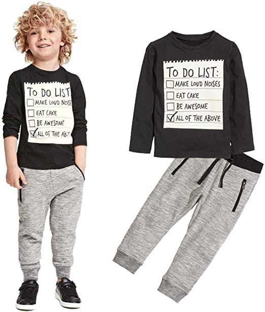 Fall Winter Baby Kids Boys Pants Sets T-shirt Top Bib Pants Overall Outfits