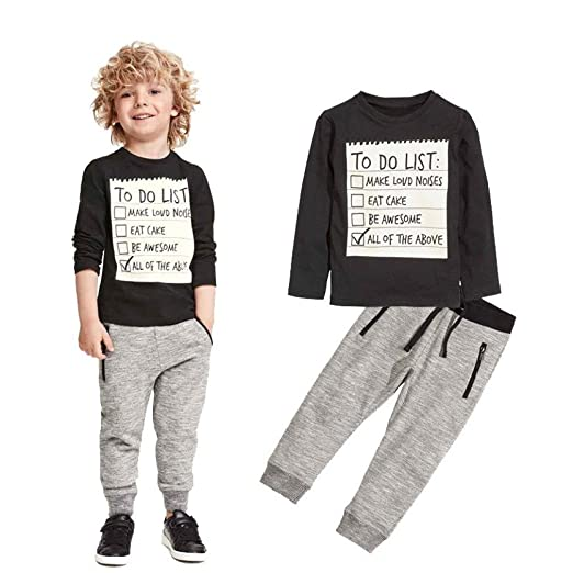 4cadcde51159 Amazon.com: Boys Clothes Set 3-7 Years Old, 2Pcs Kids Toddler Boy Autumn  Winter Handsome Black Blouse+Gray Casual Pants Outfit: Clothing