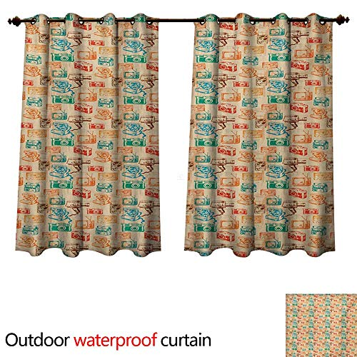 (WilliamsDecor Vintage Outdoor Curtains for Patio Sheer Retro Camera Radio TV and Cassette Colorful Illustration Old School Media Devices W63 x L72(160cm x)