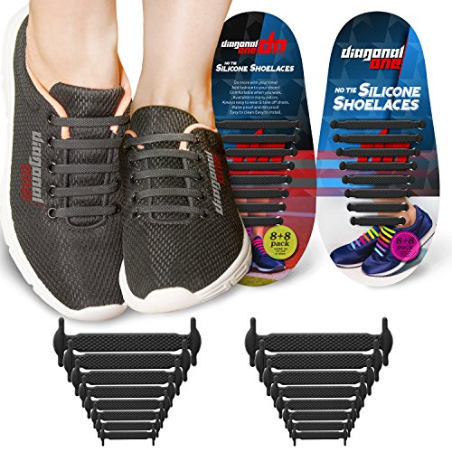 No Tie Shoelaces for Adults. Best Elastic Silicone Shoe Laces to Replace your Shoe Strings. Pimp your Shoes with Silicon Lock Laces (Black) by Diagonal One