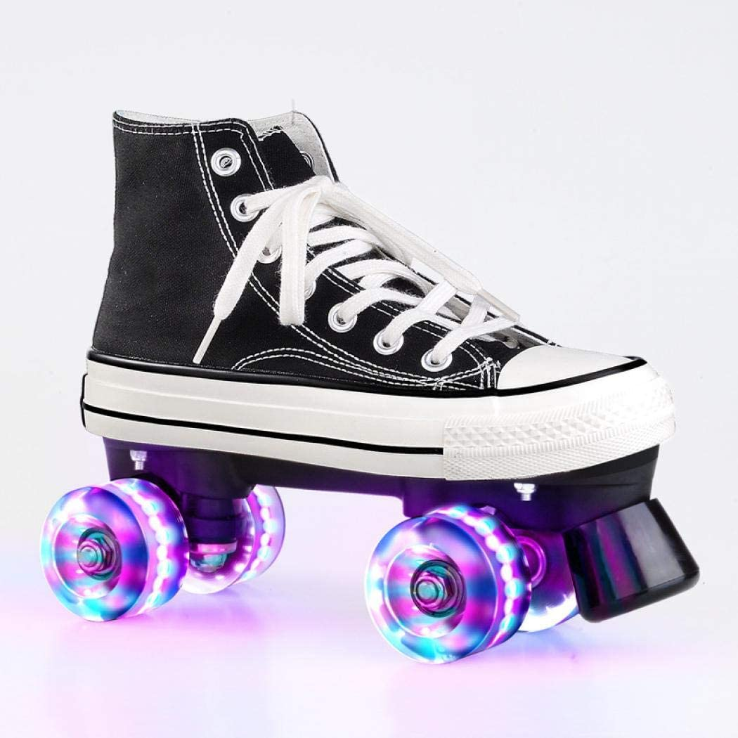 Womens Roller Skates Classic High-top Roller Skates Four-Wheel Roller Skates Shiny Roller Skates for Adult Youth Boys Girls Outdoor with Shoes Bag
