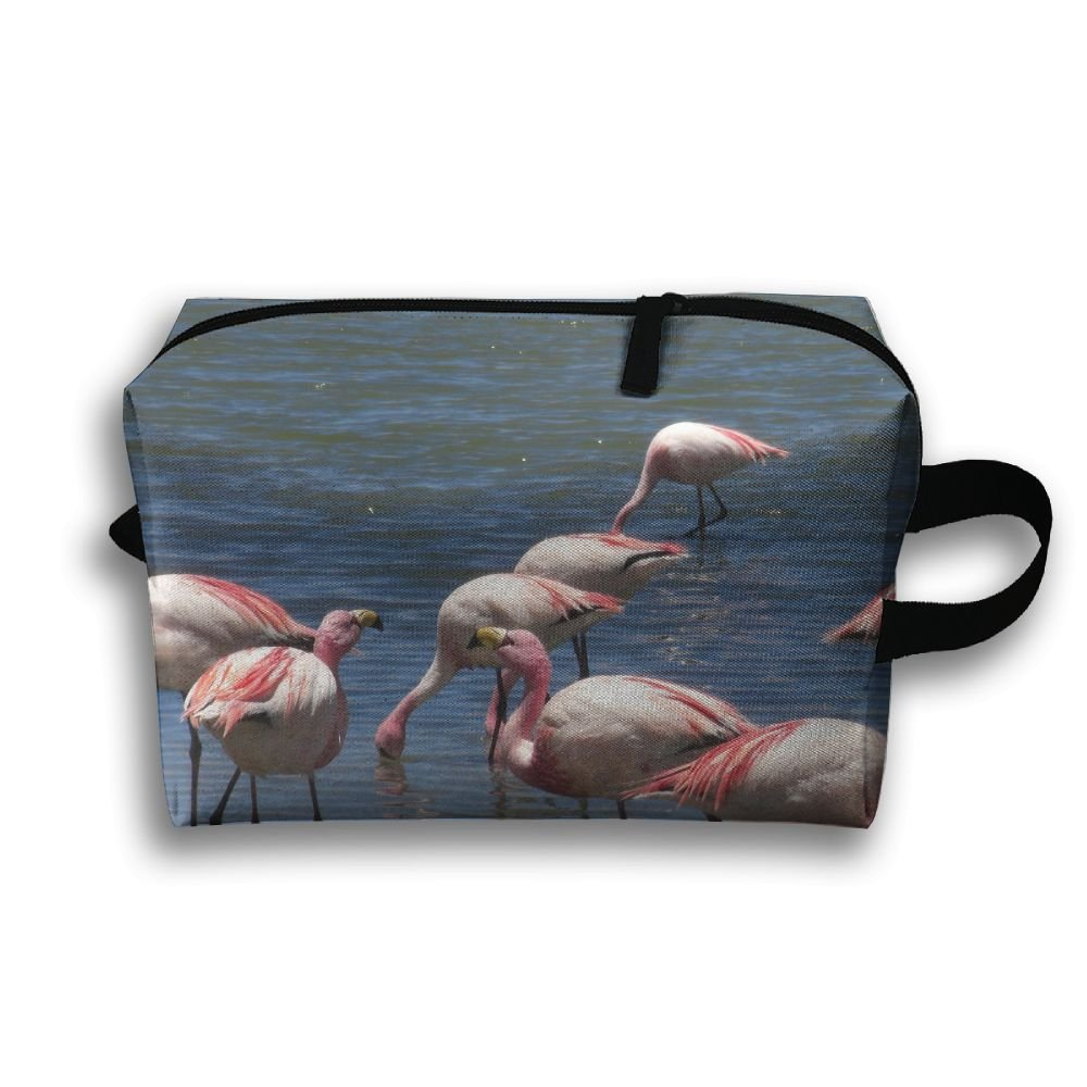 Summer Pink Flamingos Pattern Small Travel Toiletry Bag Super Light Toiletry Organizer For Overnight Trip Bag