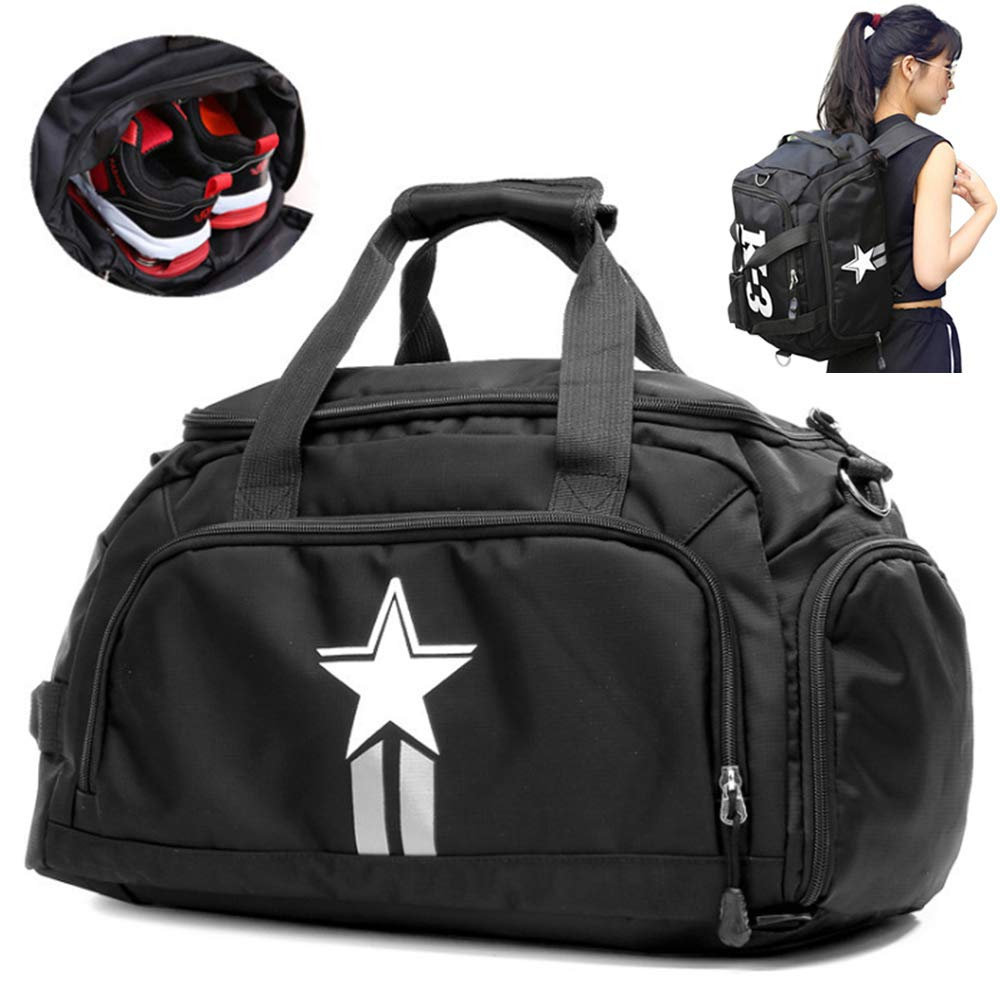 UOWGA 3-Way Travel Duffel Backpack Luggage Gym Sports Bag with Shoe Compartment 35L Black