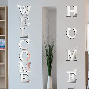 Home Sign Letters Acrylic Mirror Wall Stickers Welcome Sign Letters Decor 3D Mirror Wall Decals Family Farmhouse Wall Decor DIY Removable Mirror Wall Stickers for Home Living Room Decoration