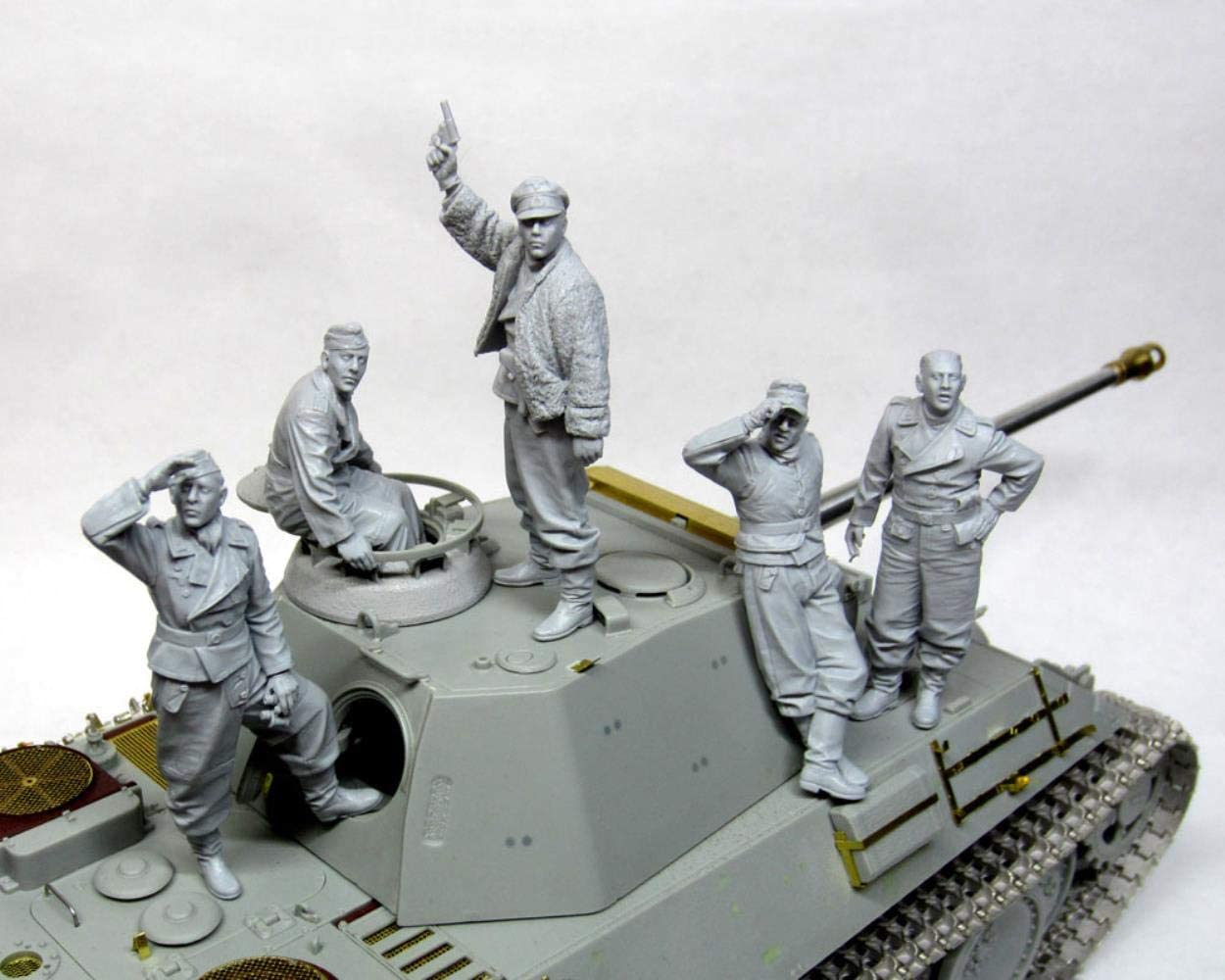 XINGCHANG 1//35 Tank Crew Antico Grande Set Giocattolo Modello in Resina Figura in Resina in Miniatura Smontaggio Non Verniciato 5 Man No Tank