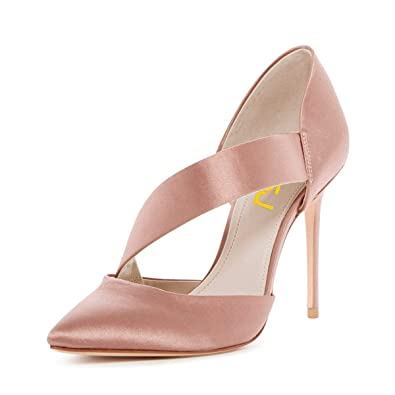 fbd0cfe9c9a FSJ Women Fashion High Heels Pumps Pointed Toe Stilettos Sandals D Orsay  Satin Shoes Size