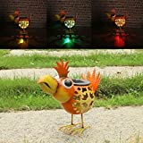 W-DIAN solar metal art outdoor decorative Animal garden decor lawn flamingo